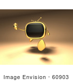 #60903 Royalty-Free (Rf) Illustration Of A 3d Golden Television Character Running - Version 1