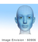 #60906 Royalty-Free (Rf) Illustration Of A Futuristic Wire Frame Female Head Diagram Looking Forward - Version 1