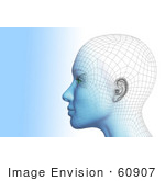 #60907 Royalty-Free (Rf) Illustration Of A Futuristic Wire Frame Female Head Diagram Looking Left - Version 1