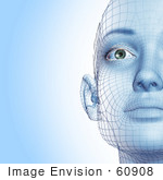 #60908 Royalty-Free (Rf) Illustration Of A Half Of A Futuristic Wire Frame Female Head Diagram Facing Front - Version 1