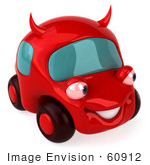 #60912 Royalty-Free (Rf) Illustration Of A 3d Red Devil Car Character - Version 3