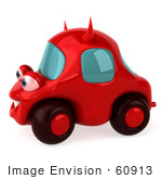 #60913 Royalty-Free (Rf) Illustration Of A 3d Red Devil Car Character - Version 2