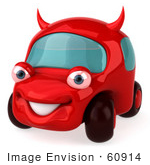 #60914 Royalty-Free (RF) Illustration Of A 3d Red Devil Car Character - Version 1 by Julos