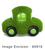#60916 Royalty-Free (Rf) Illustration Of A 3d Green Grass Car - Version 2