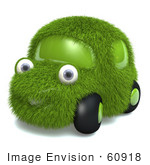 #60918 Royalty-Free (Rf) Illustration Of A 3d Grass Car Mascot - Version 2