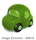 #60919 Royalty-Free (Rf) Illustration Of A 3d Green Grass Car - Version 3