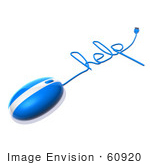 #60920 Royalty-Free (Rf) Illustration Of A 3d Blue Computer Mouse With Cable Spelling Help - Version 2