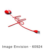 #60924 Royalty-Free (Rf) Illustration Of A 3d Red Computer Mouse With Cable Spelling Help - Version 3