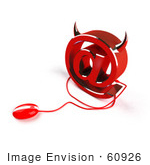 #60926 Royalty-Free (Rf) Illustration Of A 3d Devil Arobase Symbol With A Red Computer Mouse - Version 3