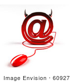 #60927 Royalty-Free (Rf) Illustration Of A 3d Devil Arobase Symbol With A Red Computer Mouse - Version 1