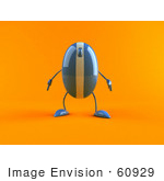 #60929 Royalty-Free (Rf) Illustration Of A 3d Blue Computer Mouse Character Standing And Facing Front - Version 2