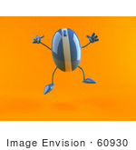 #60930 Royalty-Free (Rf) Illustration Of A 3d Blue Computer Mouse Character Jumping - Version 1