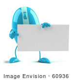 #60936 Royalty-Free (Rf) Illustration Of A 3d Blue Computer Mouse Character Holding A Blank Business Card - Version 3