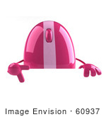 #60937 Royalty-Free (Rf) Illustration Of A 3d Pink Computer Mouse Character Pointing Down And Standing Behind A Blank Sign
