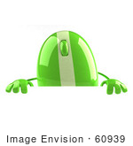 #60939 Royalty-Free (Rf) Illustration Of A 3d Green Computer Mouse Character Standing Behind A Blank Sign