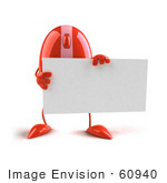 #60940 Royalty-Free (Rf) Illustration Of A 3d Red Computer Mouse Character Holding A Blank Business Card