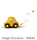 #60942 Royalty-Free (Rf) Illustration Of A 3d Yellow Flower Power Car Character - Version 2