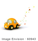 #60943 Royalty-Free (Rf) Illustration Of A 3d Yellow Flower Power Car Character - Version 1