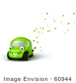 #60944 Royalty-Free (Rf) Illustration Of A 3d Green Car Character Emitting Bubbles From The Exhaust