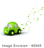 #60945 Royalty-Free (Rf) Illustration Of A 3d Green Car Character With Bubbles Flowing From The Exhaust