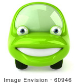 #60946 Royalty-Free (Rf) Illustration Of A 3d Green Car Character Facing Front And Smiling