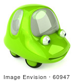 #60947 Royalty-Free (Rf) Illustration Of A 3d Green Car Character Smiling And Facing Right - Version 2