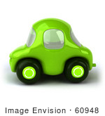 #60948 Royalty-Free (Rf) Illustration Of A 3d Green Car In Side View