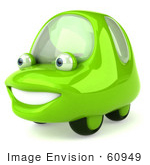#60949 Royalty-Free (Rf) Illustration Of A 3d Green Car Character Facing Left And Smiling - Version 2