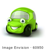 #60950 Royalty-Free (Rf) Illustration Of A 3d Green Car Character Facing Left And Smiling - Version 1