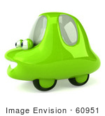 #60951 Royalty-Free (Rf) Illustration Of A 3d Green Car Character Facing Left And Smiling - Version 3