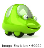 #60952 Royalty-Free (Rf) Illustration Of A 3d Green Car Character Smiling And Facing Right - Version 1