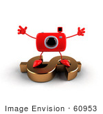 #60953 Royalty-Free (Rf) Illustration Of A 3d Red Camera Boy Character Standing On A Gold Dollar Symbol - Version 3