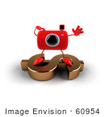 #60954 Royalty-Free (Rf) Illustration Of A 3d Red Camera Boy Character Standing On A Gold Dollar Symbol - Version 1