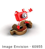 #60955 Royalty-Free (Rf) Illustration Of A 3d Red Camera Boy Character Standing On A Gold Dollar Symbol - Version 5