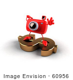 #60956 Royalty-Free (Rf) Illustration Of A 3d Red Camera Boy Character Standing On A Gold Dollar Symbol - Version 4
