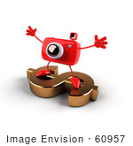 #60957 Royalty-Free (Rf) Illustration Of A 3d Red Camera Boy Character Standing On A Gold Dollar Symbol - Version 2