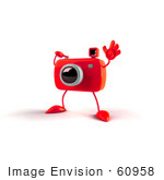 #60958 Royalty-Free (Rf) Illustration Of A 3d Red Camera Boy Character Waving - Version 2