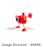 #60959 Royalty-Free (Rf) Illustration Of A 3d Red Camera Boy Character Holding His Arms Open - Version 4