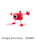 #60960 Royalty-Free (Rf) Illustration Of A 3d Red Camera Boy Character Holding His Arms Open - Version 2