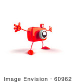 #60962 Royalty-Free (Rf) Illustration Of A 3d Red Camera Boy Character Holding His Arms Open - Version 3