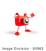 #60963 Royalty-Free (Rf) Illustration Of A 3d Red Camera Boy Character Waving - Version 3