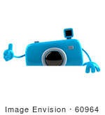 #60964 Royalty-Free (Rf) Illustration Of A 3d Blue Camera Boy Character Giving The Thumbs Up And Standing Behind A Blank Sign