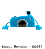 #60965 Royalty-Free (Rf) Illustration Of A 3d Blue Camera Boy Character Standing Behind A Blank Sign