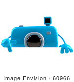 #60966 Royalty-Free (Rf) Illustration Of A 3d Blue Camera Boy Character Pointing Down And Standing Behind A Blank Sign