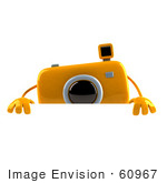 #60967 Royalty-Free (Rf) Illustration Of A 3d Yellow Camera Boy Character Standing Behind A Blank Sign