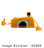 #60968 Royalty-Free (RF) Illustration Of A 3d Yellow Camera Boy Character Giving The Thumbs Up And Standing Behind A Blank Sign by Julos
