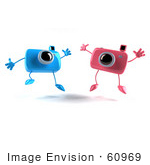 #60969 Royalty-Free (Rf) Illustration Of Two 3d Pink And Blue Camera Boy And Girl Mascots Jumping - Version 1