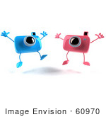#60970 Royalty-Free (Rf) Illustration Of Two 3d Pink And Blue Camera Boy And Girl Mascots Jumping - Version 2