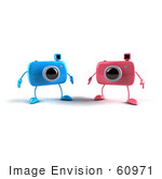#60971 Royalty-Free (Rf) Illustration Of Two 3d Blue And Pink Camera Boy Mascots