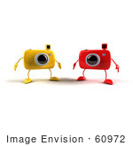 #60972 Royalty-Free (Rf) Illustration Of Two 3d Yellow And Red Camera Boy Mascots